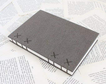 Large Hardcover Bullet Journal Notebook with Dotted Grid Pages and Gray Linen Covers - One of a Kind Coptic Binding