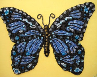Beaded Butterfly Wall Art, Butterfly in Blue, hand bed embroidered