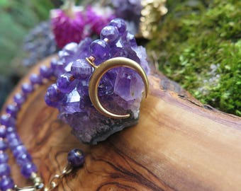 Facueted Amethyst Choker Necklace - Brass Charm - Beautiful Purple Gemstone - Natural Bohemian Jewelry - Gift for her - Beauty - Festival