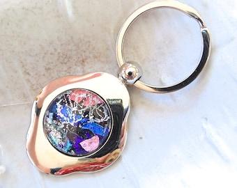 Dichroic Glass Keychain, Fused Glass