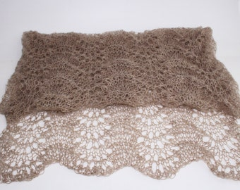 Large lace SCARF-SHAWL-WRAP,   Everard Coffee brown color-ready to ship