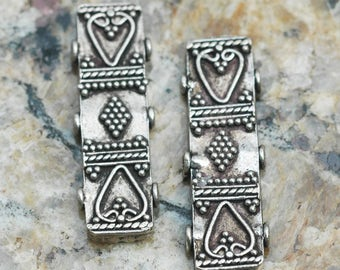 Antiqued Sterling Silver 3 Strand Spacer Bar ~  Bali Style ~ 9x28mm ~ set of 2