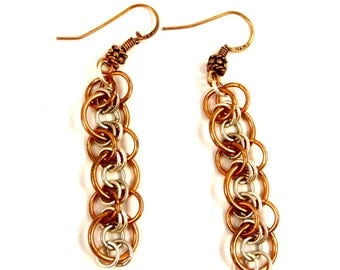 Copper and Sterling Silver Earrings Mixed Metal Chainmaille Jewelry Chain Mail Dangle Earrings Metallic Jewelry