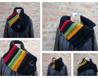 Cowl Scarf Crocheted in Red-black-green gold- Custom Colors - Sorority