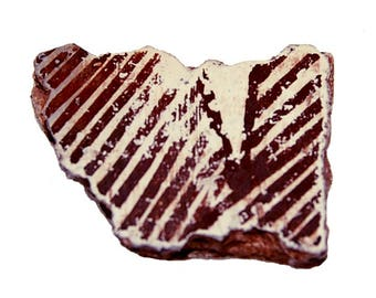 Auburn Striped Auburn Anasazi Pottery Shard with White Background (Number 13)