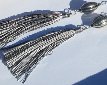 Long Tassel Earrings Black and White Silky Fringe Thread Tassel pierced statement earrings Shoulder Dusters hand made earrings Silky Fringe