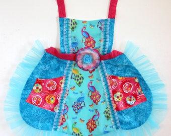 Peacock Blue Apron, girls apron, toddler apron, kids apron, dress up, costume