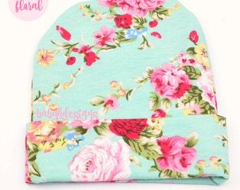 Newborn Beanie | Baby Girl Hospital hat | Infant Beanie | Newborn Hat | Baby Hat | Coming Home Hat | Aqua Pink Floral Headband Top Knot Bow