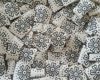 Mosaic Tiles--Retro flowers no. 2 Black & White---60 Tiles
