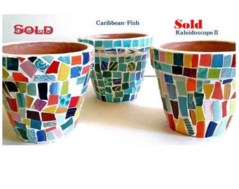 Mosaic Planting Pot--Caribbean Fish-Planter For Herbs, Flowers or Cactus-Utensil Holder- Ready to Ship Perfect Gifts