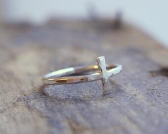 Silver Cross Ring Sideways Cross Jewelry - Christian Inspired Jewelry