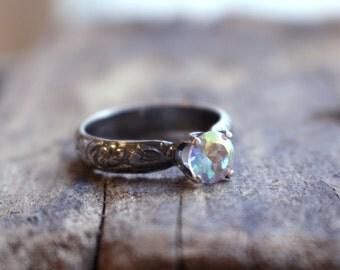 Rainbow Topaz Sterling Silver Ring