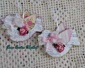 For Ang, Springtime Birdie 2pc Set Wood Ornaments, Hand Cut and Created, Papered Wings,  Original Design, ECS