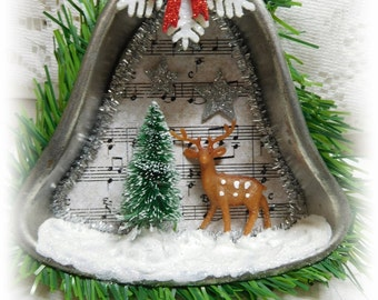 Christmas Greeting Bell Shape Tart Pan Ornament, Hand Created and Embellished, Tree Ornament, Gift, Collectible, ECS