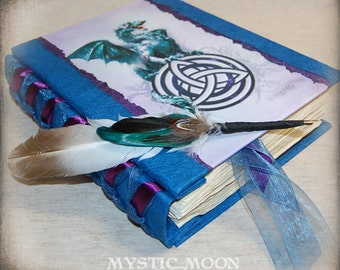 Celtic Dragon / Handmade XL Writing Journal / Diary / Book of Spells / Wiccan / Pagan / Quill Pen / Book of Shadows Binder / Pentacle / BOS