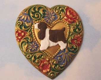 Springer Spaniel PIN Brooch. Liver and White English Springer Spaniel. Heart Dog Jewelry. Gift for Her. Springer Lovers.Hand Painted Art