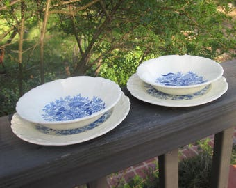 Two Vintage Blue and White Berry/ Dessert Bowls With Small Matching Plates - Taylor Smith Taylor USA