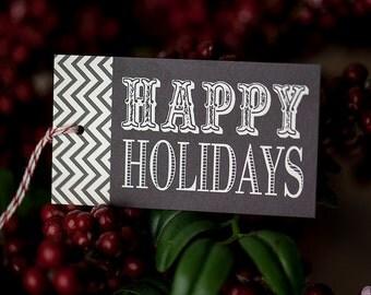 Printable Happy Holidays gift tags, modern gift tags, Christmas printable gift tags, instant download printable