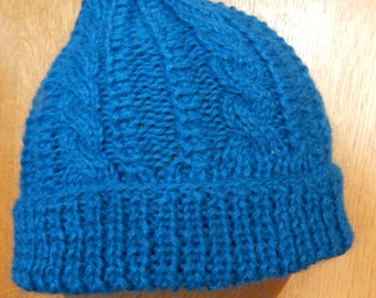 Cable Hand Knitted Beanies of 100% Alpaca