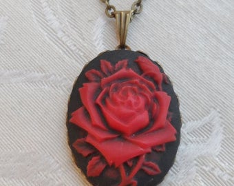Sale, 50% Off, Roses Are Red, Cameo Necklace