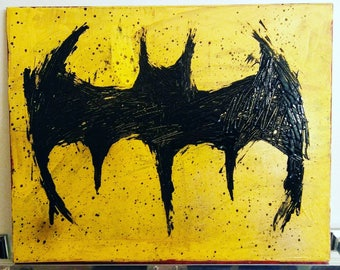 Acrylic and aerosol Batman logo