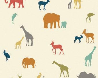 The Tribe - Serengeti - Birch Fabrics - Organic Cotton - Silhouette Silo Animals Giraffes Elephants Gazelles
