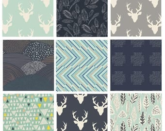 9 FABRIC BUNDLE - Hello, Bear (Gray Mint Navy) - AGF - Bonnie Christine - Modern Cotton Quilting Fabric - Woodland Deer Woods Forest