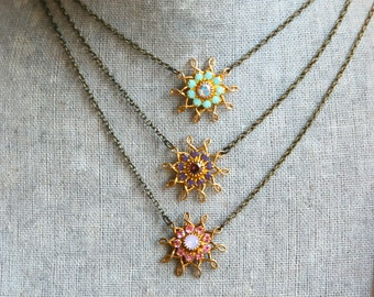 Bohemian winter jewel crystal necklace / layering necklace/ Holiday gift. Tiedupmemories