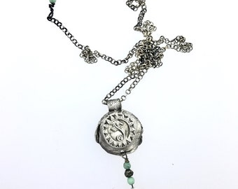 Seahorse necklace ocean jewelry recycled silver opals talisman pearl primitive unique beach Salacia necklace
