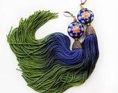 RESERVED for Adan - - - Tassel earrings, long tassels, blue green, cobalt blue earrings, moss green earrings