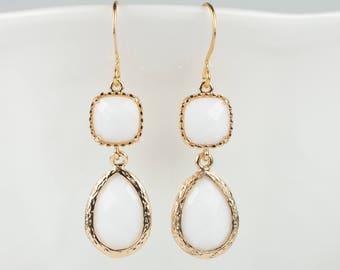 Long White Gold Drop Earrings, White Gold Dangle Earrings, Gold Drop Earrings, Bridesmaid Jewelry, Bridesmaid Gift, White Gold Earrings