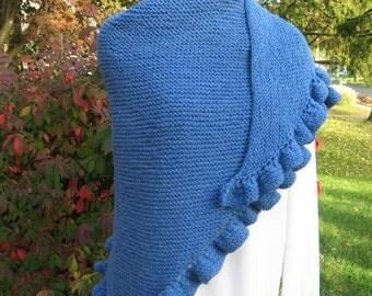 Denim Blue Handknit Triangle Shawl with Ruffled Edge