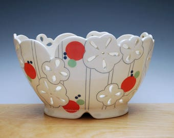 Large Floral pierced fruit bowl in Ivory w. Red & Green polka dots, Handmade Victorian modern