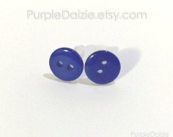 Blue Buttons Post Earrings Kawaii Stud Earrings Button Rich Color No Metal Acrylic Plastic Posts Hypoallergenic Sensitive Ears Nickel Free