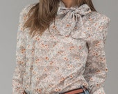 ON SALE Vintage Grey Floral Ascot Neck Blouse (Size Medium)