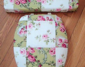 Yellow Green Peach Rose  Toilet Seat & Tank Lid Cover Set