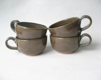 Pottery Cappuccino Cups Set of 4