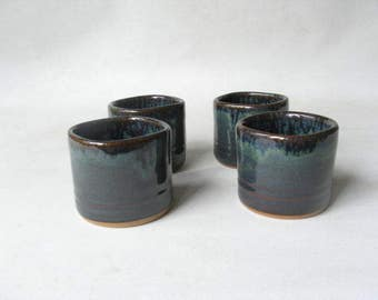 Whiskey Cups Set of 4, Pottery Shot Glasses, Small Ceramic Tumblers
