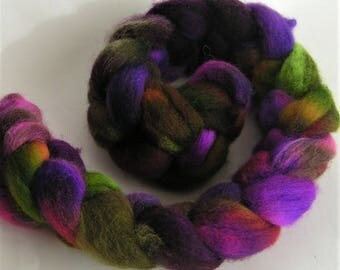 Roving Fiber COLUMBIA Top FANTAGASM  Hand Painted Spin Felt Craft 4 ounces Phat Fiber Nuno Knit Crochet Purple Green Pink