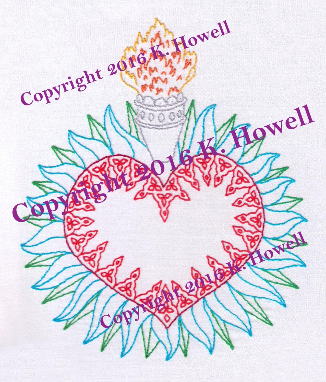 Sacred Heart Hand Embroidery Pattern Large Catholic