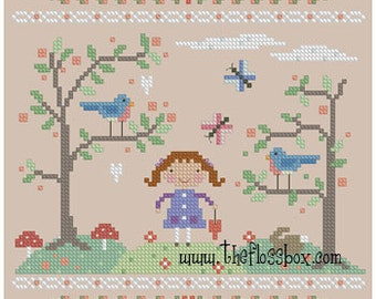 Spring Bluebirds Cross Stitch Pattern