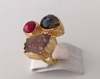 Triple Gold plated  Smoky quartz, Coral and  Amethyst  ring