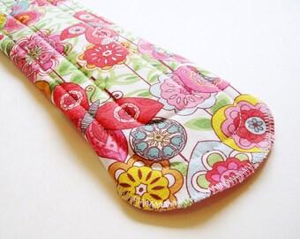 "12.5"" Cotton Heavy Cloth Menstrual Pad, Flowers Birds Pink White Green, Incontinence Pad Plus Size Pad, Night Overnight Pad Cloth Sanpro CSP"