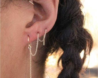 Ear Threads - Sterling Silver and 14k Goldfill - Wear in 1 to 4 piercings