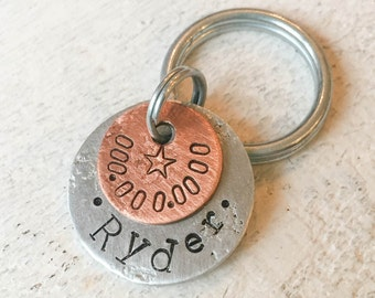 Our dog tags make a unique personalized gift. Each pet id tag is crafted in our Bozeman, Montana studio by dog lovers. Ryder Pet Tag