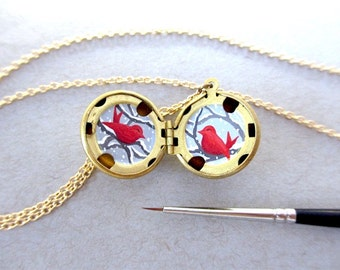 Snowy Lovebirds Locket, Christmas Romance, Gift for Wife, Bird Necklace