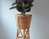 SOLD.....Vintage bamboo rattan plant stand - bentwood bohemian planter - boho room decor
