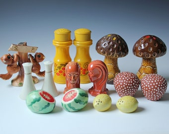 Instant collection of vintage salt and pepper shakers - decorative table top shakers - mushroom, squirrel, lemon