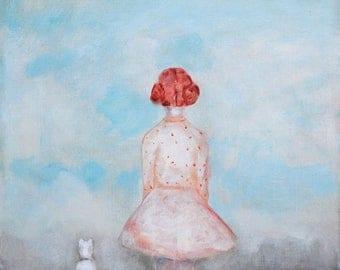 Girls room wall art Red head girl nursery wall art little girl with dog art girls room decor giclee print