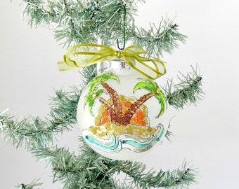 Coastal Christmas Palm Tree Glass Bulb Ornament, Beach Scene with Palm Tree, Tropical Christmas Tree Ornament, Xmas Palm Tree Ornament